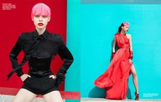 Karen magazine features brilliant combo of teal and red combo shot by Mikael Wardhana.