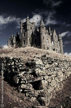 Balintore Castle in Angus, Scotland. Built in 1859 by architect William Burn. The house was abandoned in the 1960s