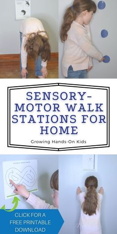 Sensory-motor walk stations for home. Includes a free printable download.     #Sensory #Sensoryactivity #SensoryActivities #SensoryMotor #SensoryMotorWalk #OccupationalTherapy #OTTips