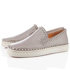 Noticeable & Discount Christian Louboutin Pik Boat Men's Flat Sneakers Bleached Sand Outlet   Louboutin Sneakers Men 2011