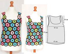 Gehäkelte Bluse, bunte Blumen, Vintage, Boho-Stil, Hippie-Stil, bunte Bluse, gehäkelte Bluse (2)