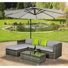Buy Rattan Garden Furniture Set Wicker Sofa Set in Grey |Homcom