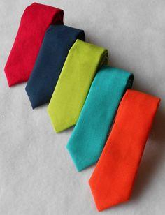 Red Navy Lime Teal or Orange Skinny Tie Men's by kellybowbelly