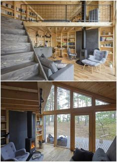 This cabin was created with the sole purpose of being a book lover's paradise. It has timber walls lined with books, peaked ceilings, and large windows to let in plenty of beautiful light. Tiny House Loft, Tiny House Living, Tiny House Plans, Duplex House, Cabin Design, Small House Design, Cabin Interiors, Tiny House Movement, Forest House