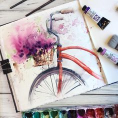 Watercolor Art by Painting, Drawing . Watercolor art by painting, drawing, art Art Floral, Drawing Sketches, Art Drawings, Drawing Faces, Drawing Ideas, Sketch Art, Abstract Sketches, Drawing Journal, Art Faces