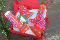 Hmong Christmas Ornament Set - Stockings And Tree's In Bright Ethnic Embroidery