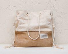Canvas Beach Bag Large Tote Bag Shopper Tote Purse Canvas Tote Striped White
