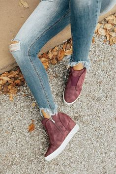 The Karlie Perforated Bootie In Windsor Wine Wedge Sneakers, High Top Sneakers, Winter Sneakers, Wedge Shoes, High Heels, Cute Shoes, Me Too Shoes, Crazy Shoes, Shoes For School