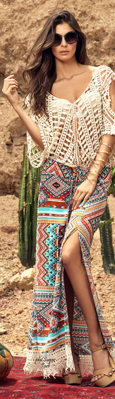 Sexy crochet embellished boho chic top with modern hippie scarf maxi skirt for a funky gypsy allure. For the BEST bohemian fashion trends FOLLOW > https://www.pinterest.com/happygolicky/the-best-boho-chic-fashion-bohemian-jewelry-gypsy-/ < now.