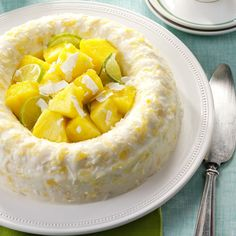 My gelatin ring gets a tropical twist from coconut, pineapple and macadamia nuts. It's a wonderful anytime treat. Now that I'm retired from teaching, I have more time for kitchen experiments. —Carol Gillespie, Chambersburg, Pennsylvania Jello Desserts, Jello Recipes, Dessert Salads, Easter Recipes, Salad Recipes, Jello Salads, Fruit Salads, Cook Desserts, Fluff Desserts