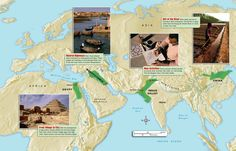 The earliest civilizations emerged in a.) Egypt along the Nile river valley at about 3,000 BCE b.) in the Indus River valley in what is now modern day India/Pakistan around 2,500 BCE c.) in the Yellow River valley (Hueng He) in Northern China d.) and in the Middle East in the Tigris -Euphrates river valley around 4,000 BCE.
