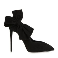 Giuseppe Zanotti Court shoe in black suede with maxi bow at the side