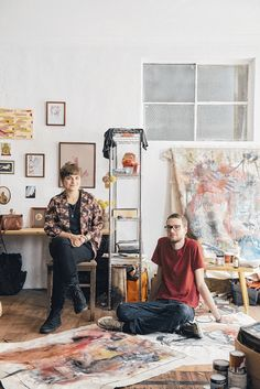 Adelaide artists Fruszi Kenez Simon De Boer at Tooth and Nail Studios. As seen in the Adelaide* magazine's Youth Issue, June 2013. Photo: Sven Kovac #Adelaide #Artist #creative #Art #ArtStudio