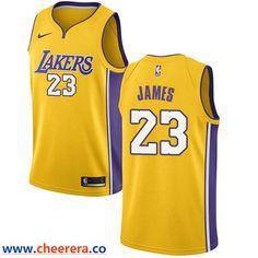 Men's Nike Los Angeles Lakers #23 LeBron James Gold NBA Swingman Icon Edition Jersey