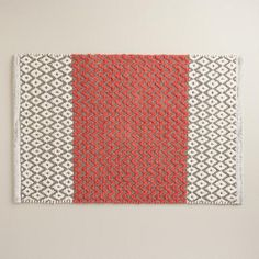One of my favorite discoveries at WorldMarket.com: Coral and Frost Gray Chenille Diamond Bath Mat