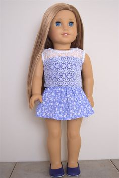 American Girl Doll Clothes Floral skirt by EliteDollWorld on Etsy