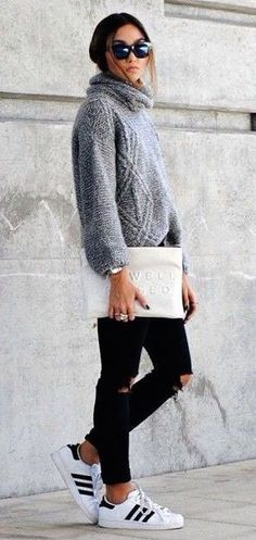 Fall Outfit Gray Sweater Skinny Pants