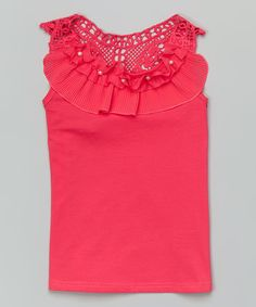 Loving this Hot Pink Crochet & Pearl Ruffle Tank - Infant, Toddler & Girls on #zulily! #zulilyfinds