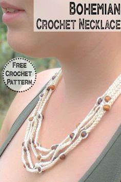 Crochet Necklace Pattern, Crochet Beaded Necklace, Crochet Jewelry Patterns, Beaded Necklace Patterns, Bead Crochet, Beaded Necklaces, Crochet Jewellery, Bead Earrings, Bracelet Patterns