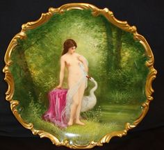 "Museum Quality 13 1/4"" Limoges Porcelain Plaque / Charger ~ Hand Painted with Nude Leda and the Swan before the seduction. Artist Signed ~ Lazeyras, Rosenfeld & Lehman (LRL) Limoges France ca 1920's"