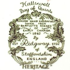 Heritage pattern by Ridgway Pottery - Halliwell Bay of Quinte - backstamp