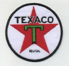 texaco patch badge gasoline motor oil hot rod drag race filling station