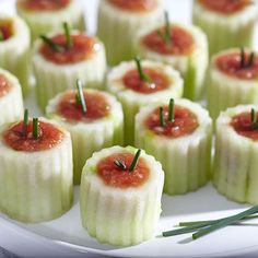 Mini Gazpacho Cucumber Shooters - how cute are these?? @Stonewall Kitchen