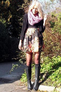 tall boots + patterned skirt + big scarf