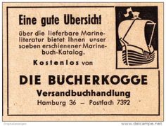 Original-Werbung/ Anzeige 1957 - DIE BÜCHERKOGGE VERSANDBUCHHANDLUNG - HAMBURG…