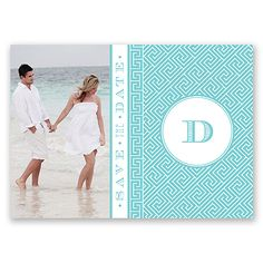 Add a bit of traditional zest to your save the date! A geometric, Greek key design surrounds your future married initial, alongside your personal photo on the front of this save the date postcard.