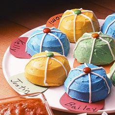 Baseball cap cupcakes.