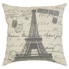 "Product: Pillow Construction Material: Fabric Color: Black and cream Features: Old World style Charming design Insert included Dimensions: 16"" x 16"""