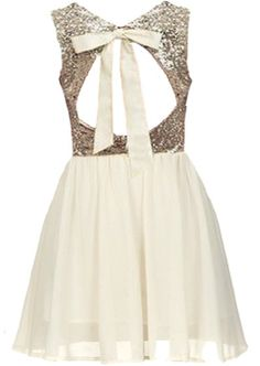 Wedding Glitters Dress: Features a romantic cutout back crowned with dreamy ribbon ties, glittering gold sequin bodice, swingy ivory chiffon skirt, and a princess-style mesh overlay to finish. Chiffon Skirt, Dress Skirt, Dress Up, Blush Skirt, Maid Dress, Cute Homecoming Dresses, Prom Party Dresses, Birthday Dresses, Dama Dresses
