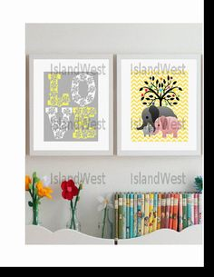 Typography kids wall art Love elephants family by IslandWest, $38.00