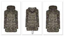 Women's Winter Overcoat Long Hooded Jacket Coat Slim Zip Army Camouflage Outwear