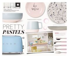 """""""Pastel Home Decor II"""" by katarina-blagojevic ❤ liked on Polyvore featuring interior, interiors, interior design, home, home decor, interior decorating, Smeg, Hawkins, Fringe and Villeroy & Boch"""