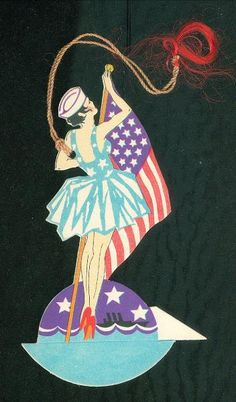"Patriotic Bridge Tally Pert Girl in ""Sailor"" Attire Hoisting An American Flag 
