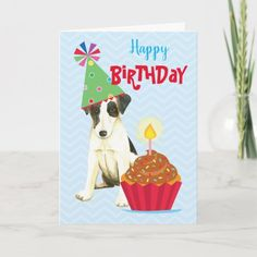 Birthday Cupcake Smooth Fox Terrier Card   pug ornaments, pug wedding, pug humor #socks #instapug #puglover Pug Wedding, Smooth Fox Terriers, Cane Corso Dog, Happy Birthday Cupcakes, Puppy Birthday, Australian Cattle Dog, Custom Greeting Cards, Thoughtful Gifts, Paper Texture