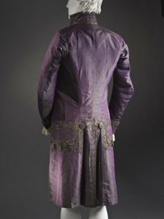 Back view, 3-piece suit, Europe, circa 1790, altered circa 1805. Coat and breeches: purple silk plain taffeta with sequins and metallic-thread embroidery; waistcoat: pale yellow silk satin with sequins and metallic-thread embroidery.