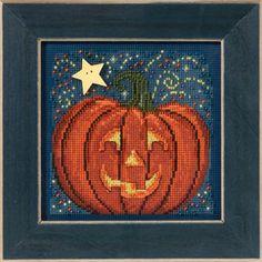 Midnight Pumpkin Cross Stitch Kit Embroidery Patterns by Mill Hill Santa Cross Stitch, Fall Cross Stitch, Beaded Cross Stitch, Counted Cross Stitch Kits, Cross Stitch Charts, Cross Stitch Embroidery, Embroidery Patterns, Cross Stitch Patterns, Cross Stitching