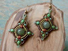 beadwork  earrings  / tribal earrings / beaded by DandasCollection