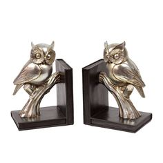 Keep your books in line with these adorably chic owl bookends. These bookends features a book design with wise owls constructed of gold-colored resin.