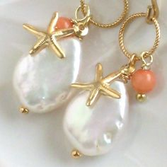 Beach Earrings - White Coin Pearl, Coral drop and Starfish Charm in 14k Gold fill. $44.00, via Etsy.