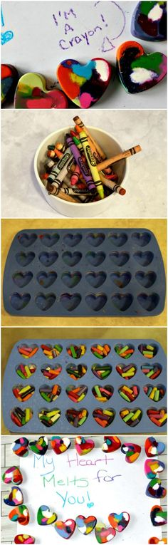 How to Make Heart Crayons - such a great non candy Valentine's Day treat for the classroom!