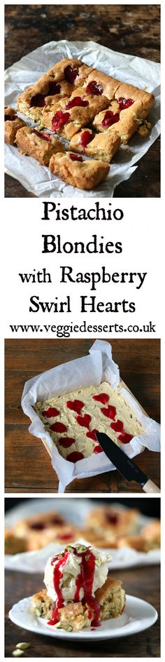Pistachio Blondies with Raspberry Swirl Hearts | Veggie Desserts Blog  These pistachio blondies with white chocolate are decadent, chewy and delicious. They have crunch from chopped pistachios, sweetness from white chocolate and the sharp raspberry puree is swirled into hearts. Perfect alone or topped with vanilla ice cream!
