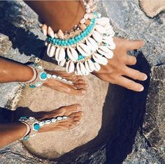 Love love LOVE... boho chic / hippie / gypsy style shell bracelets and anklets