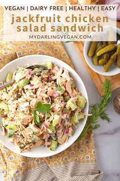 This vegan chicken salad sandwich is made with jackfruit and it's totally delicious! So easy to make and perfect for lunch or dinner. #sandwich #jackfruit #vegan #mydarlingveagn #easy Jackfruit Chicken, Jackfruit Recipes, Vegan Chicken Salad, Chicken Salad Recipes, Vegetarian Recipes, Cooking Recipes, Keto Recipes, Vegetarian Options