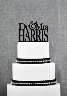 New to ChicagoFactory on Etsy: Modern Dr and Mrs Last Name Wedding Cake Toppers Unique Personalized Wedding Cake Topper Elegant Dr and Mrs Wedding Cake Toppers - (S028) (25.00 USD)