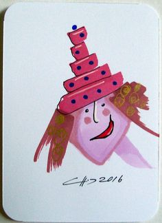 ACEO Original Abstract Caricature People Girl Lady Illustration Ink Hat | eBay
