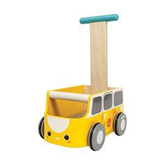 Van Walker - Yellow by Plan Toys is the ultra cute retro walker. Tots will learn how to steadily walk around will pushing the adorable face cart which can also trot around their favorite toys! Baby Toys, Kids Toys, Jewelry Box Plans, Making Wooden Toys, Push Toys, Wheels On The Bus, Toy Storage, Jouer, Educational Toys